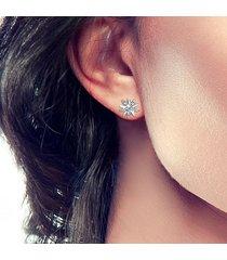 orecchini a lobo fiore in oro bianco e zirconi per donna