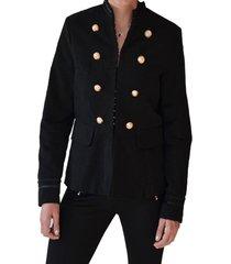 abrigo aplicación botones negro alexandra cid