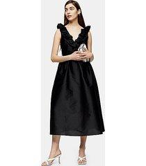 black taffeta bow back midi dress - black
