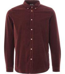 corduroy tailored shirt - dark red 599r-e21043 29