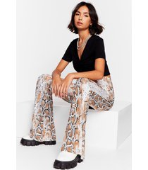 womens snake or break high-waisted flare pants - nude