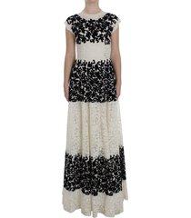 floral lace ricamo long ball maxi jurk