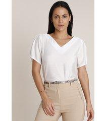 blusa feminina texturizada manga bufante decote v off white