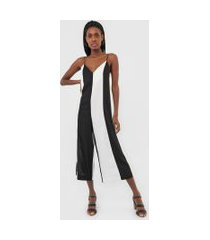 macacão dress to pantacourt color block preto/off-white