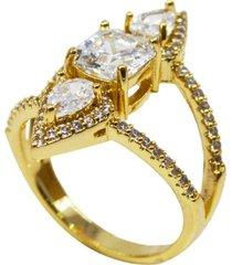 anel la madame co  duplo multi cristais zircônias cravejados com cristais grandes banhado a ouro 18k