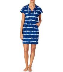 women's lauren ralph lauren tie dye zip hooded lounge dress