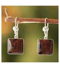 mahogany obsidian dangle earrings, 'inca mystique' (peru)