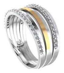 anel de filete de ouro e zircônia pratamil joias feminino - feminino