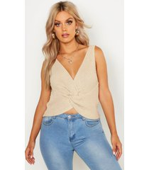 plus twist front knitted tank top, stone