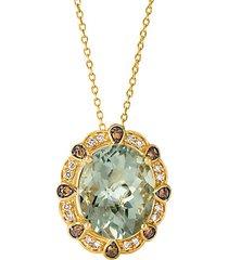 14k honey gold™, mint julep quartz™, chocolate diamond® & nude diamond pendant necklace