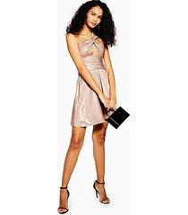 foil twist shoulder mini dress - champagne
