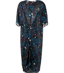 anntian garden party-print silk dress - black