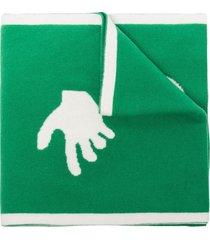 off-white intarsia-knit logo-detail scarf - green