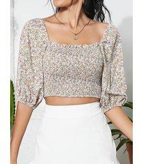 blusa de media manga con cuello cuadrado fruncido de yoins calico
