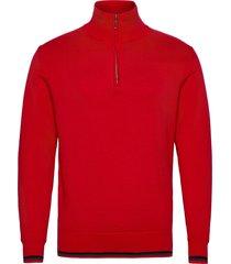 mens dubson windstop pullover knitwear half zip jumpers rood abacus