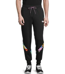 puma men's graphic cotton pants - black - size l