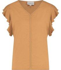 penn & ink t-shirt met hoge v-hals en ruches