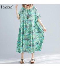 zanzea mujeres acampanado de manga larga maxi del vestido de la impresión floral vestido de la camisa de cuerpo entero -verde