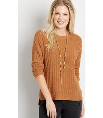 maurices womens solid teddy step hem pullover sweater brown