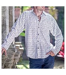 men's cotton shirt, 'bali weave in black and white' (indonesia)
