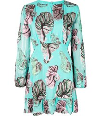 cynthia rowley inverness teal fish bell sleeve dress - green