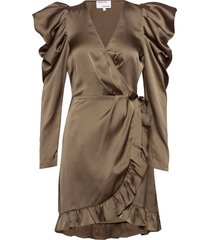 ruffled wrap-front mini dress knälång klänning brun designers, remix