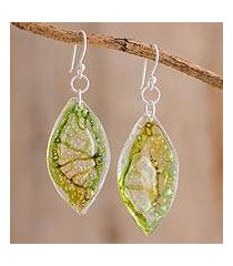 recycled cd dangle earrings, 'leafy forest' (guatemala)