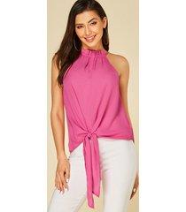yoins rosa anudado diseño blusa sin mangas con cuello halter