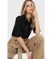 blusa wados camisera  negro - calce regular