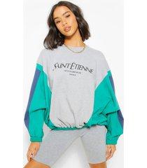colour block sweater met tekst, grijs gemêleerd