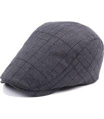 uomini donne cotone griglia beret cappello casual outdoor parasole cappello forward con visiera regolabile cappello