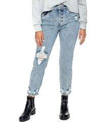 mom cropped jeans high waist con botonadura delantera y rotos color blue