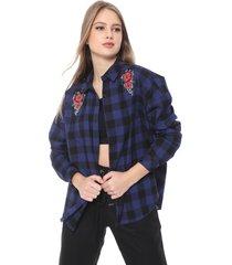 camisa hering reta xadrez preta/azul - kanui