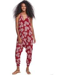 buddha pants women's harem jumpsuit - red sunshine xx-small cotton