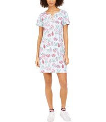 tommy hilfiger mixed-print lace-up dress