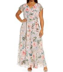 plus size women's eliza j floral ruffle neck chiffon dress, size 20w - grey