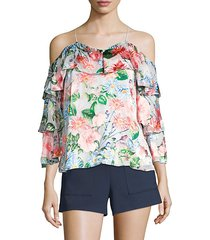 marylee silk-blend floral blouse