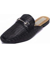 zapato tejido hebilla negro mailea