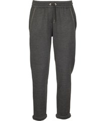 brunello cucinelli stretch cotton lightweight french terry trousers with monili