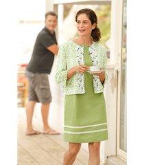 mouwloze jurk met fijne kant-versiering, zwart/avocado 36