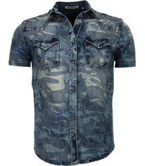 denim overhemd korte mouwen leger motief