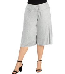 24seven comfort apparel women's plus size drawstring gaucho pants