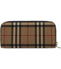 burberry ellerby vintage check and leather ziparound wallet