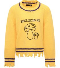 riccardo comi yellow sweater with black mushrooms