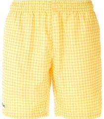 lacoste short de praia xadrez - amarelo
