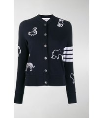 thom browne chain stitch icon embroidery cardigan