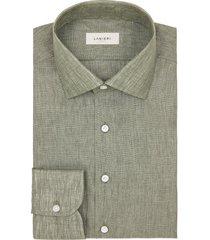 camicia da uomo su misura, albini, lino zephyr verde oliva, primavera estate | lanieri