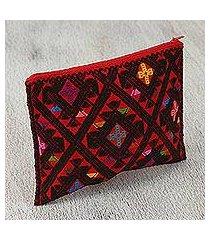 cotton cosmetic bag, 'magic crimson' (mexico)