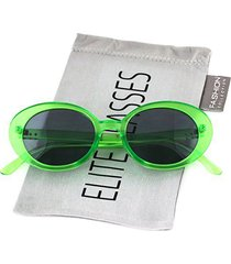bold retro oval mod thin frame sunglasses clout goggles with round lens (green,