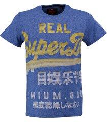 superdry stevig zacht blauw slim fit t-shirt valt 2 maten kleiner